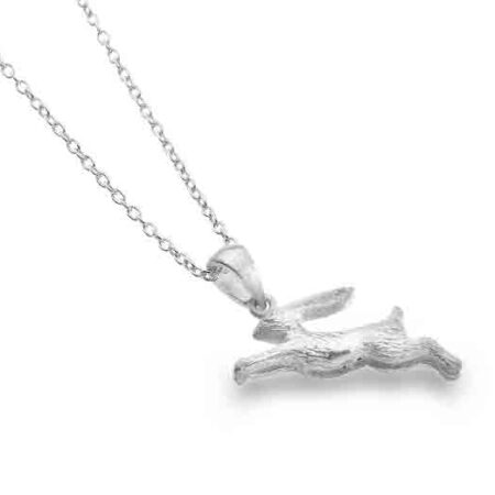 Silver Jumping Rabbit Pendant