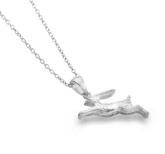 Silver Jumping Rabbit Pendant